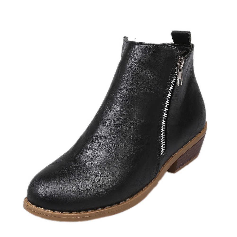 Marka Büyük Boy 43 serin leopar zip up Kadın Ayakkabı Kadın moda kare topuklu eğlence Sonbahar yarım çizmeler kadın patik