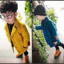 Сезон осень-зима новые детские пальто для мальчиков теплые однобортные куртки с длинными рукавами и отложным воротником для мальчиков