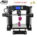 Anet a6 mais novo atualizado impressora reprap 3d prusa i3 precisão com máquina + foco + filamento + cartão sd + lcd tela de moscou armazém