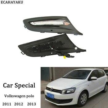 ECAHAYAKU 2PCS/Set Car-styling DRL LED Daytime Running Light for volkswagen polo 2011 2012 2013 Fog Lamp Cover Hole 12V Daylight