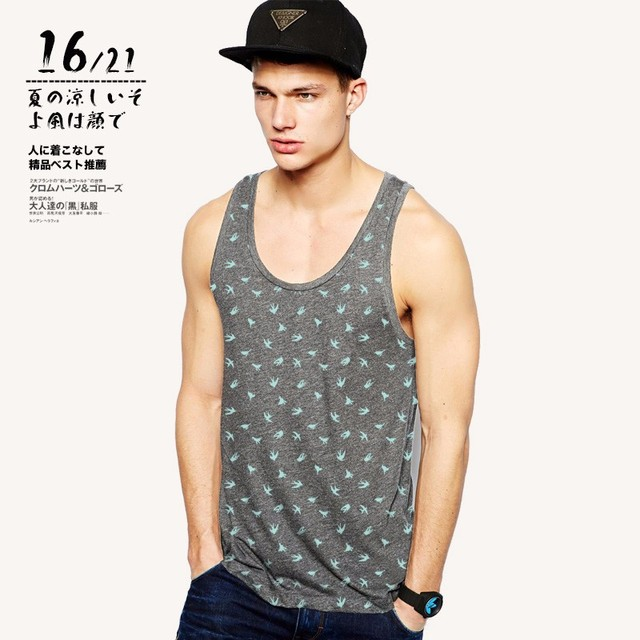 2017 Tank Tops Sleeveless Vest TOP Undershirt casual fitness Mens casual Cotton print Bodybuilding