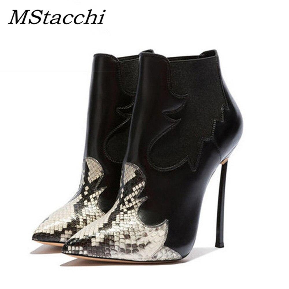 MStacchi Occident stivaletti da donna serpente punta a punta calzature stivaletti caldi corti peluche 2018 tacchi alti sottili 12 cm scarpe da donna