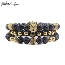 3pcs/Set Luxury natural stone beads Crown Bracelets CZ Ball crown Charm Braided Braiding men bracelets & bangles for Men Jewelry