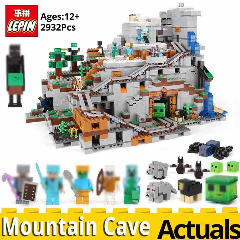 Lepin MINECRAFTED 18032 La Montagne Grotte Compatible legoinglys Mon mondes 21137 blocs à empiler modèle kit de construction Blocs Briques