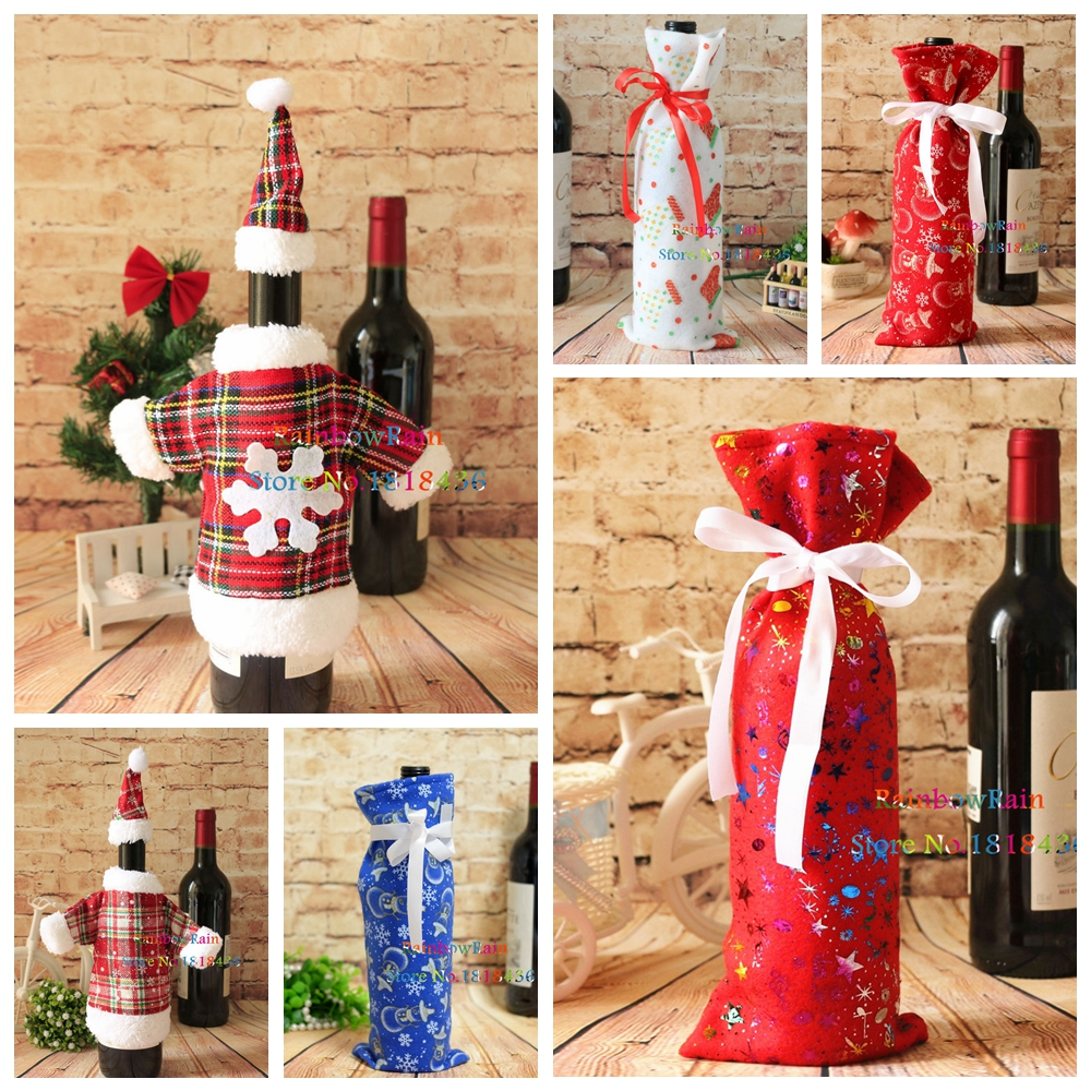 Fashion christmas wine bottle cover set santa clothing for Sia home fashion christmas decorations