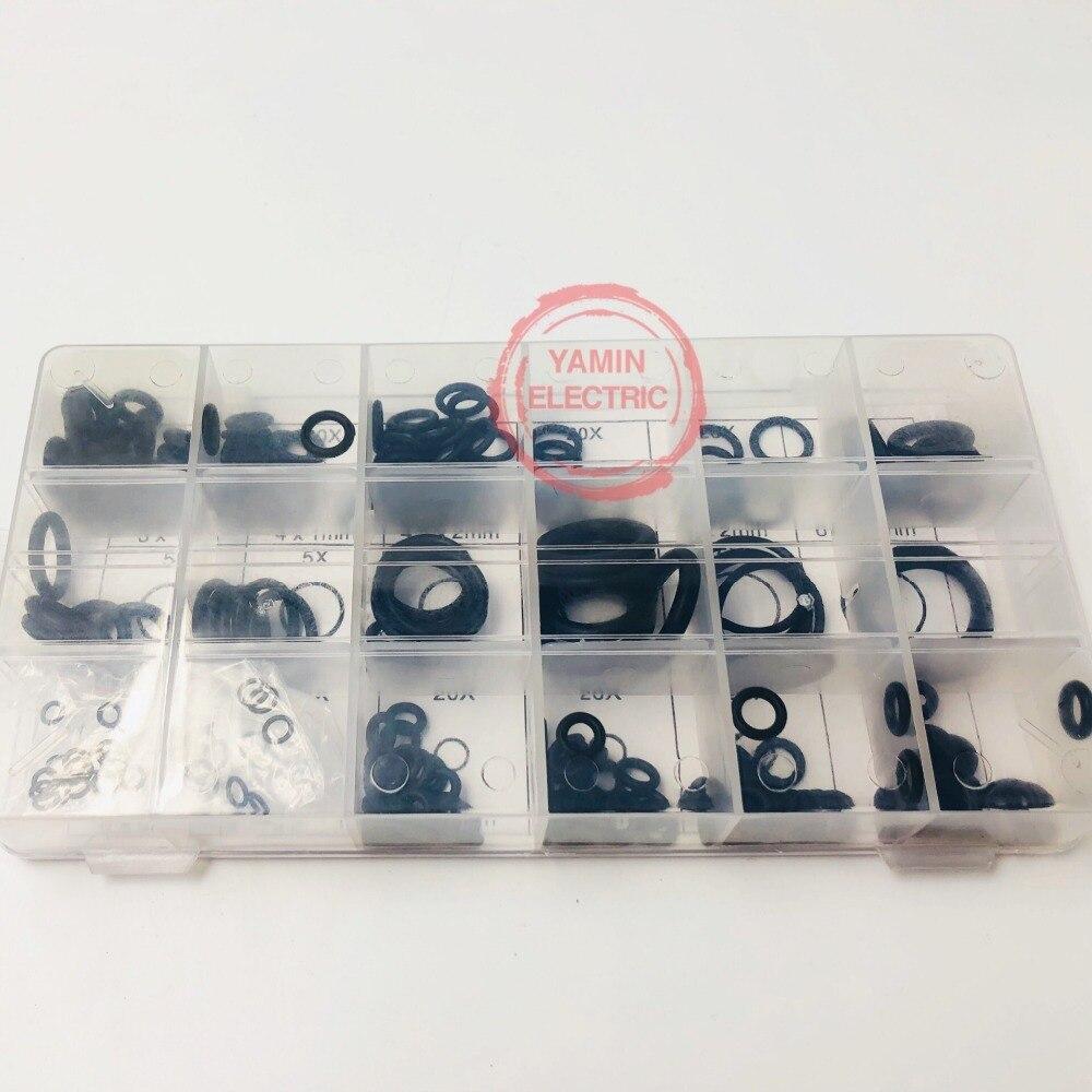 225pcs Preto Anel de Borracha O-Sortimento Arruela de Vedação Anel de Vedação Kit 18 Tamanhos com Kit Caixa De Plástico Com caso