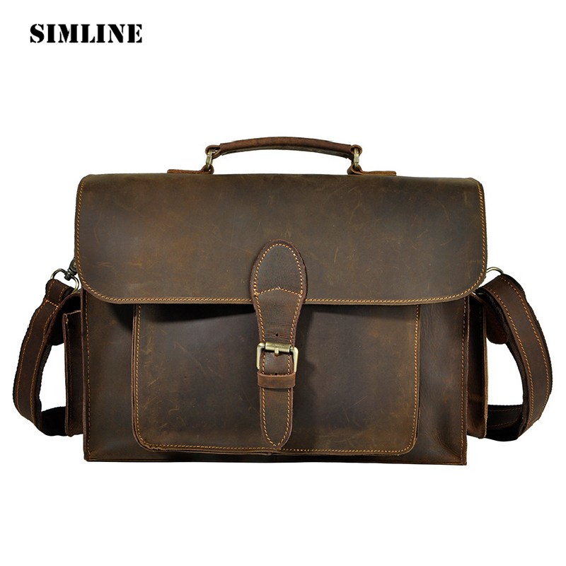 SIMLINE Vintage Business Genuine Crazy Horse Leather Cowhide Men Handbag Handbags Shoulder Messenger Laptop Bag Bags Briefcase joyir men briefcase real leather handbag crazy horse genuine leather male business retro messenger shoulder bag for men mandbag