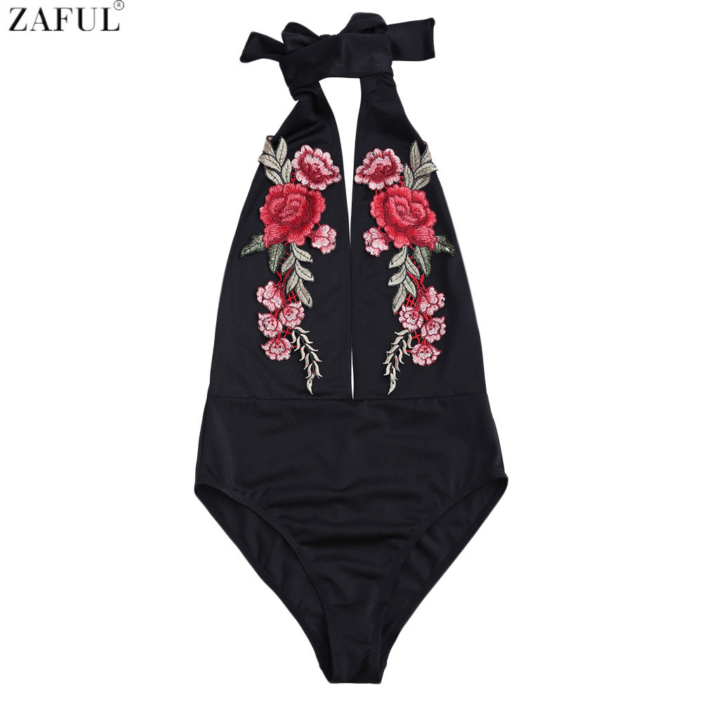 Zaful Swimsuit Floral Embroidery Backless Choker Swimming Swimwear One Piece Women Bathing Suits Sexy One-piece Suit