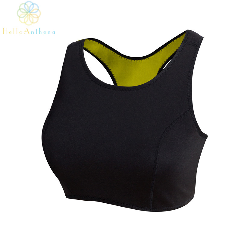 2016 Women Neoprene Material Hot Shapers Sports Tank Top Fitness Yoga Gym Running Cami Black Vest Intimates Sweat Bra Plus Size black lace insert cami playsuit