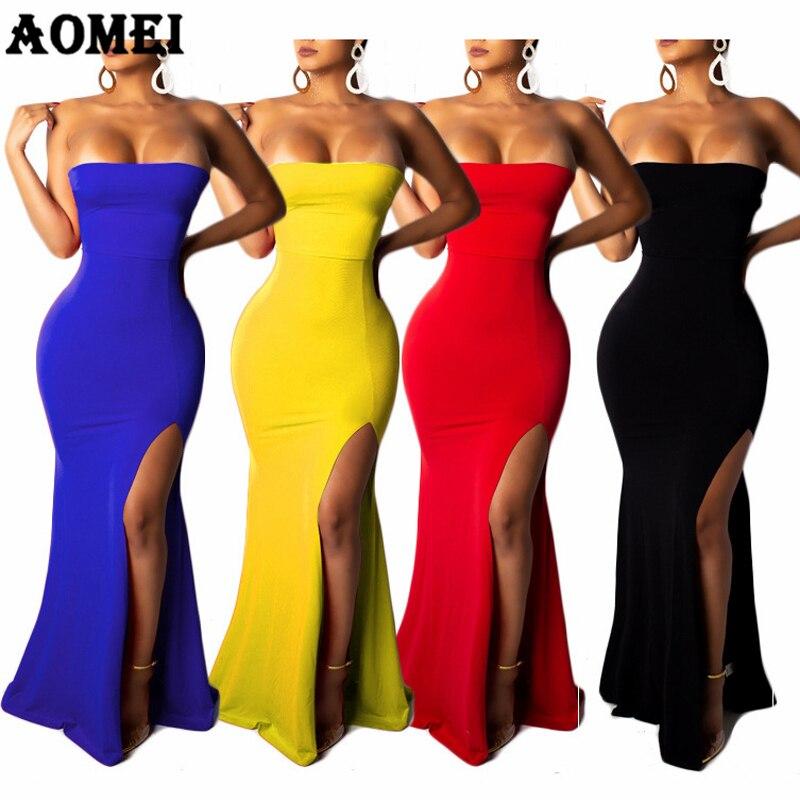 Женское длинное платье-труба, вечерние платья с открытыми плечами, вечернее Клубное платье, облегающее синее черное сексуальное обтягивающ...