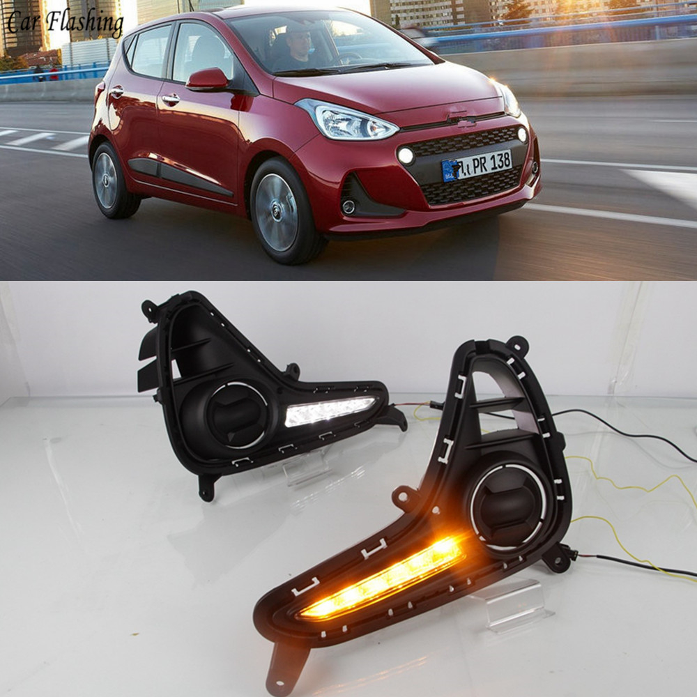 Car Flashing 1set For Hyundai Grand I10 2017 2018 Driving DRL Daytime Running Light fog lamp