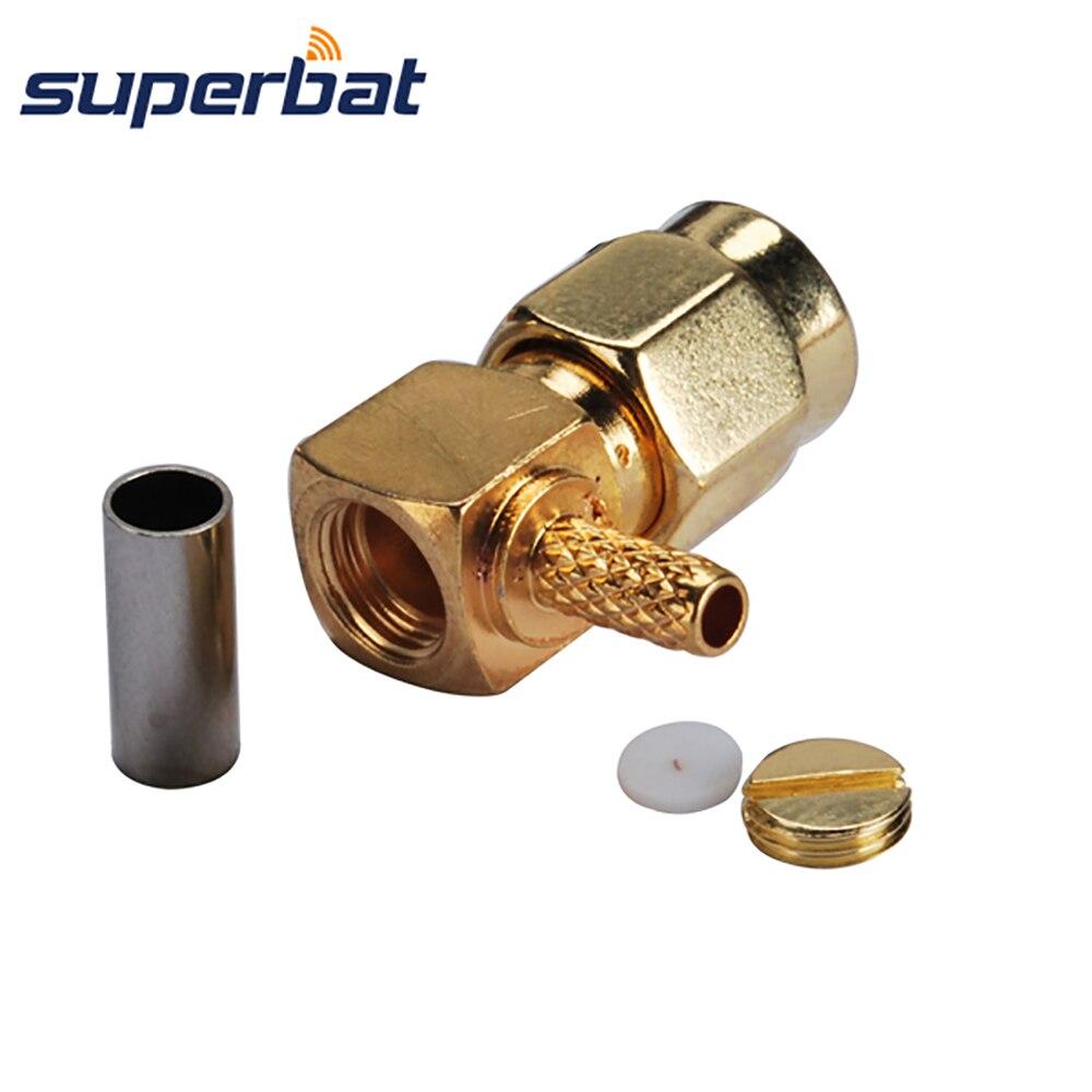 Superbat обжим SMA штекер правый угол RF коаксиальный разъем для кабеля RG-174 RG-188A RG316 LMR100 кабель