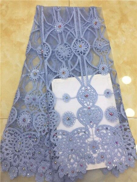 Hot sprzedaży afryki tiul koronka koralikami koronki tkaniny 2019 wysokiej jakości nigerii koronki tkaniny z koralikami na ślub sukni 5 metrów w Koronka od Dom i ogród na  Grupa 1