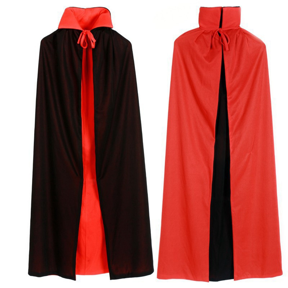 Vampire Cloak Cape Robe Stand-up Collar Red Black Reversible Halloween Costume Carnival Purim Cosplay For Men Women Kids Adult