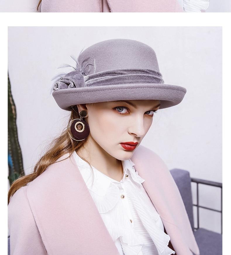 286ba5bf37b2c8 Beckyruiwu Banquet Grace Feather Headwear Women Winter 100% Wool ...