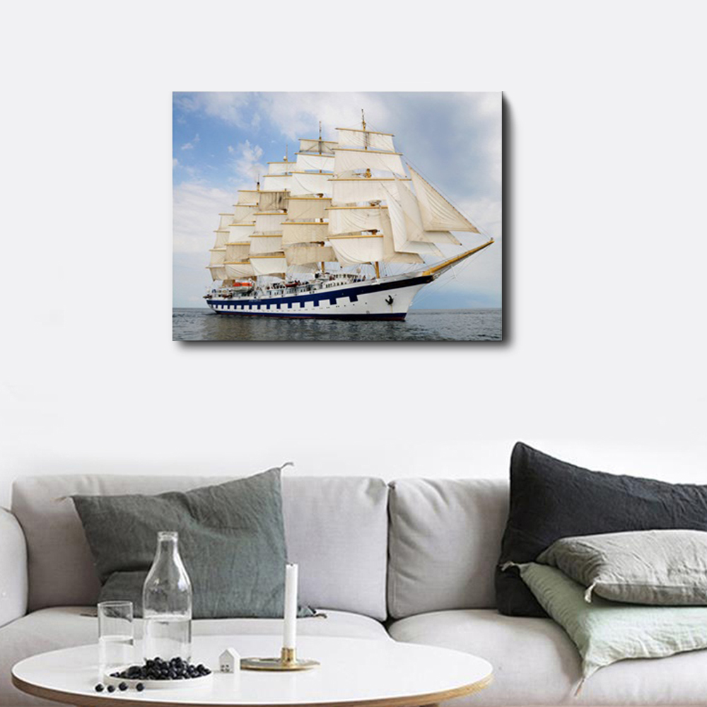 Sailboat Sea Sky Cloud Modern Wall Art Picture No Frame Abstract Unframed Oil Painting Living Room Kids Room Wedding Decor in Painting Calligraphy from Home Garden