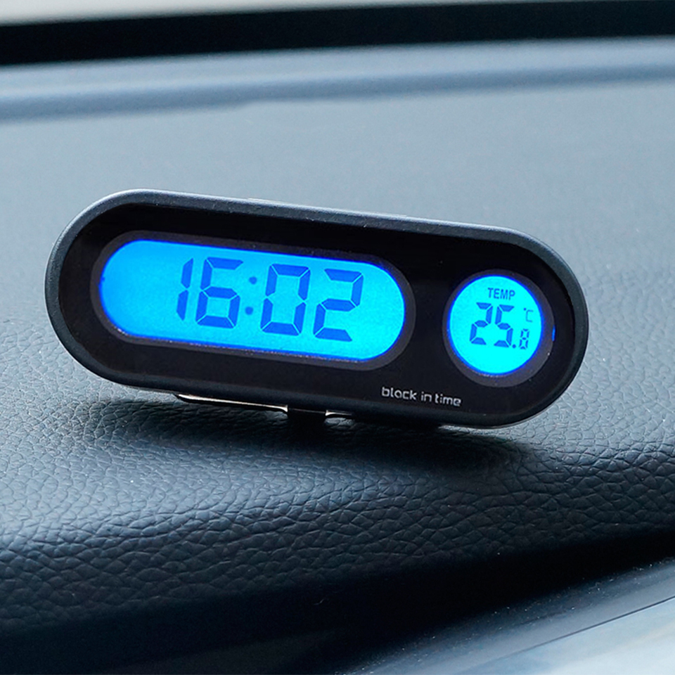 Temperature 2 in 1Car Automobile Digital Clock Auto Watch Automotive Thermometer Decoratio