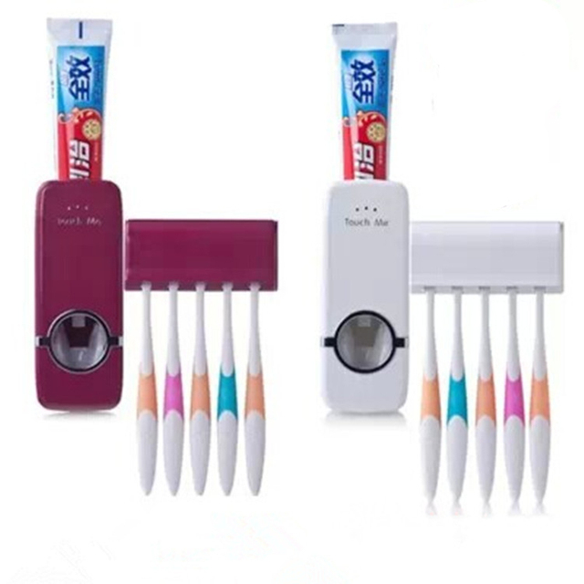 White Red Home Bathroom Household Automatic Auto Toothpaste Dispenser Squeezer + 5pcs Tooth brush Holder Set Wall Mount Stickers
