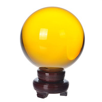 150mm Natural Quartz Yellow Crystal glass Feng Shui Chakra Healing Gemstone Sphere Magic Ball with wooden base for home decor
