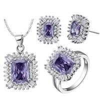Promotion Price Engagement Sets Necklace Rings Earrings White Gold Colou Women Jewelry Sets T546-8#