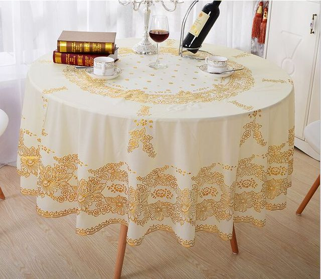 European Style Bronzing Tablecloth PVC Waterproof Round European Coffee  Mats Non Slip Table Cover Cloth