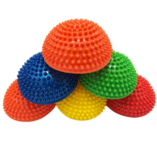 1pcs PVC Inflatable Yoga Balancing Massage Ball Semicircle Tactile Exercises Trainer Stabilizer Pilates Fitness Ball Kids 16*8cm