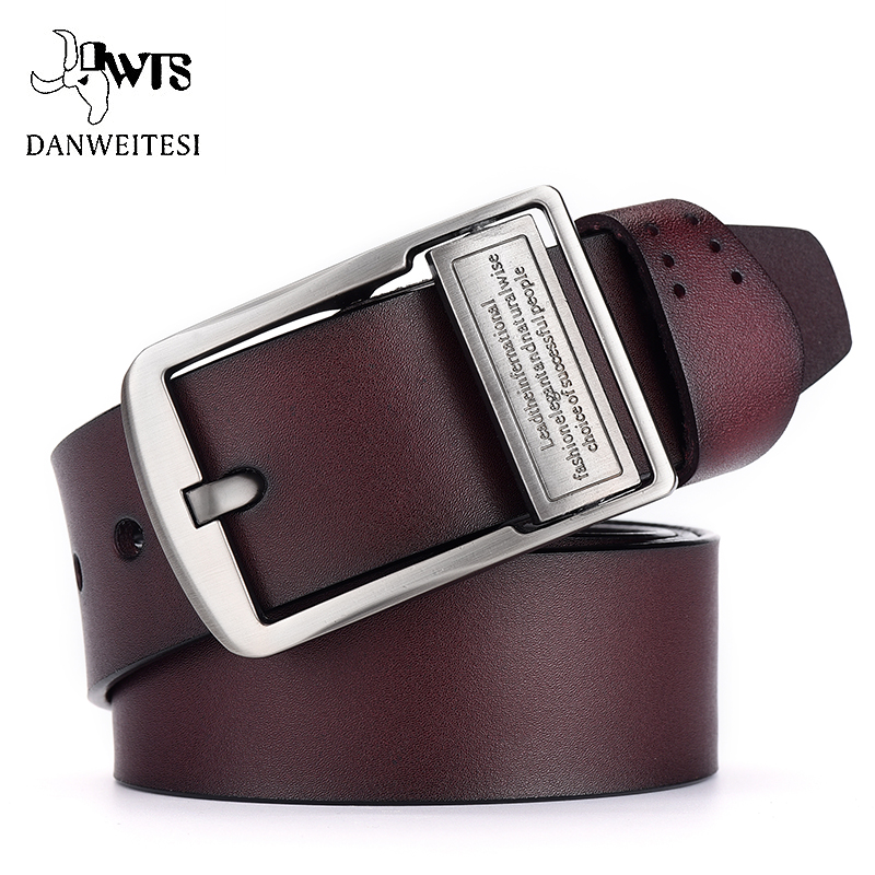 [DWTS] Belt Male Cowhide Genuine Leather Belts For Men Brand Strap Male Pin Buckle Vintage Jeans Belt 100cm-125cm