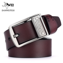 DWTS belt male cowhide genuine leather belts for men brand Strap male pin buckle vintage