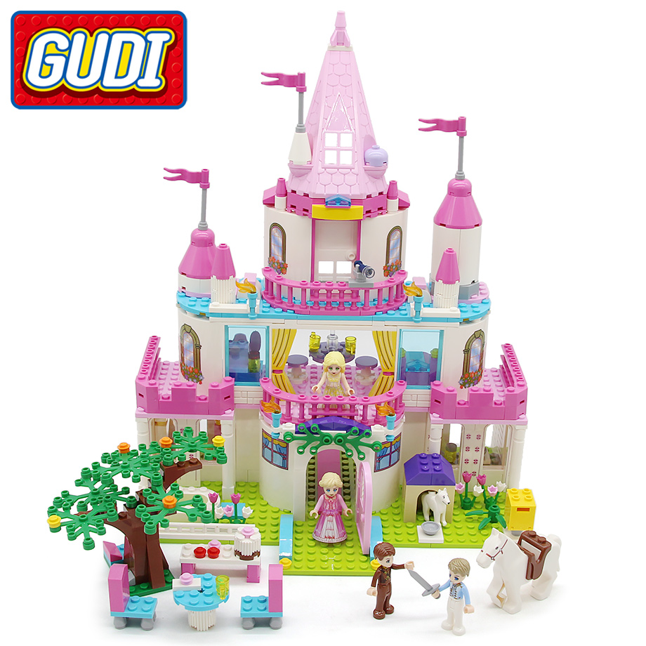 GUDI Toy Girls Princess Sweet Girls Pink Castle Blocks 616 pc Bricks Model Building Set Educational
