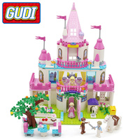 GUDI Legoingly Girls Princess Sweet Girls Pink Castle Blocks 616 pc Bricks Model Building Set Educational Toys For Children