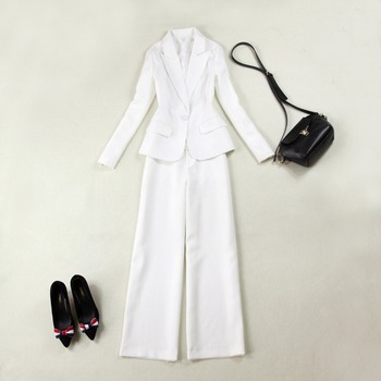 White Custom Women Business Suits Blazers Solid 2 Piece Sets Female Office Uniform Ladies Trouser Suit For Wedding W111