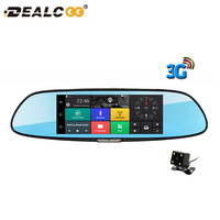 Dealcoo 7 3G Car Camera DVR GPS Bluetooth Dual Lens Rearview Mirror Video Recorder FHD 1080P