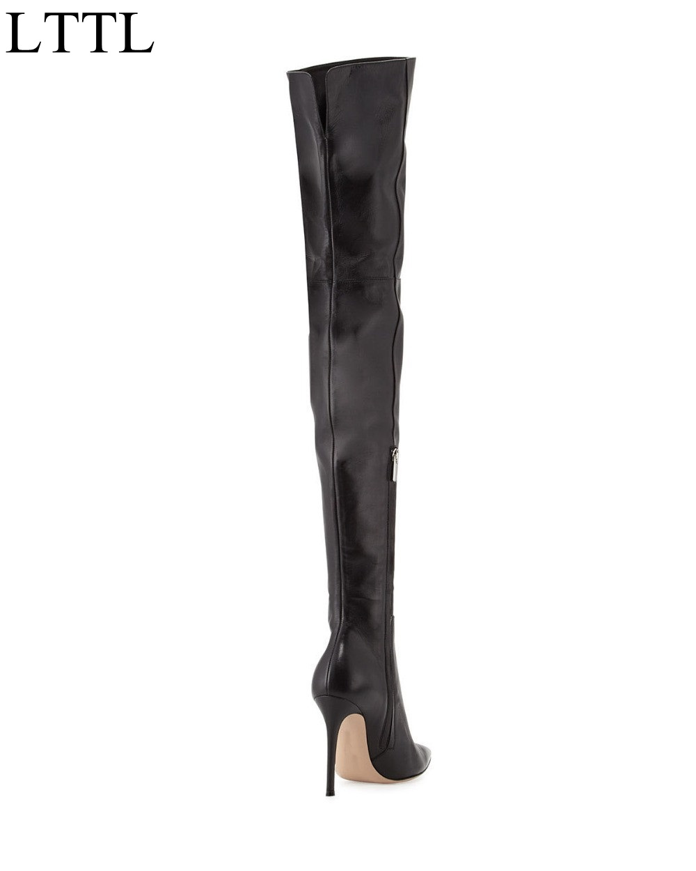 Hot Selling Black Leather Pointed Toe Side Zipper Over The Knee Boots Sexy Tight High Boots Women Size 34-41 Free Ship hot selling beige grey suede leather over the knee boots pointed high heel side zipper tight high boots women long boots