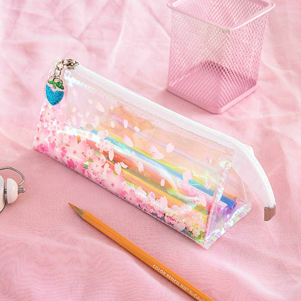 Pink Shiny Laser Sakura Soft Pencil Case School Supplies Pencil Cases Cute Stationery Pencil Bag Papelaria Estojo Escolar
