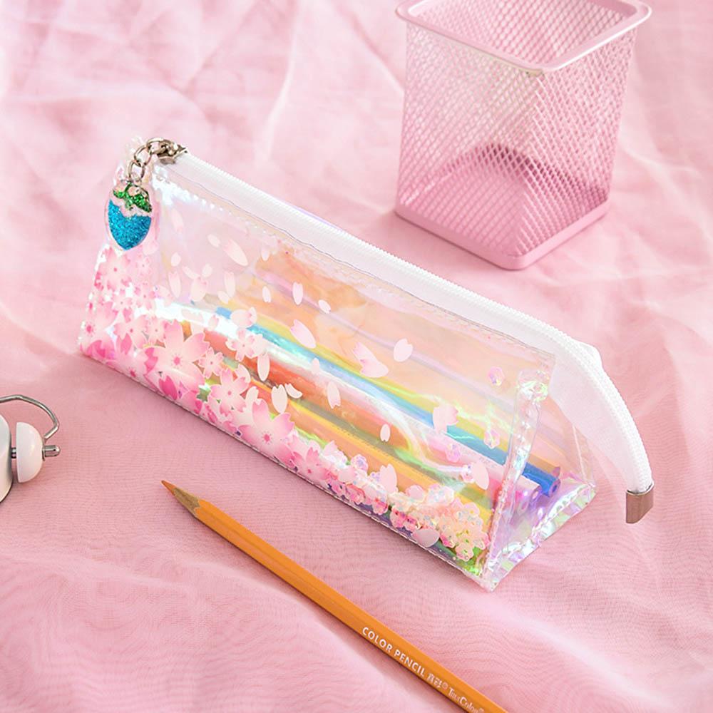 Pink Shiny Laser Sakura Soft Pencil Case School Supplies Pencil Cases Cute Stationery Pencil Bag Papelaria Estojo Escolar