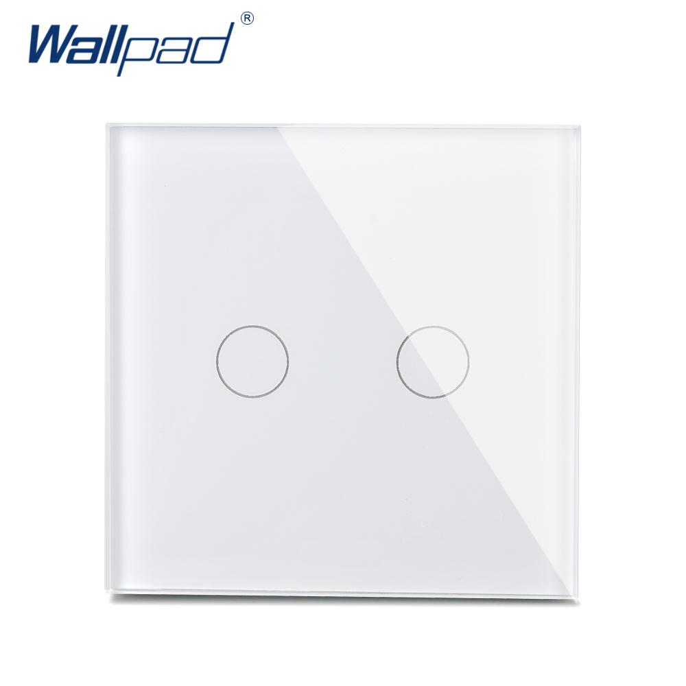 2 Gang 2 Way New Arrival Wallpad Luxury Crystal Glass Wall Switch Touch Switch UK Switch AC 110-250V White/Black new design 2 gangs 1 way crystal glass led black touch switches wallpad ac 110 250v wall light touch screen switch free shipping
