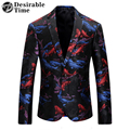 Mens Fish Printed Blazer Jacket Fashion Colorful Men Slim Fit Casual Blazer Latest Coat Designs DT306
