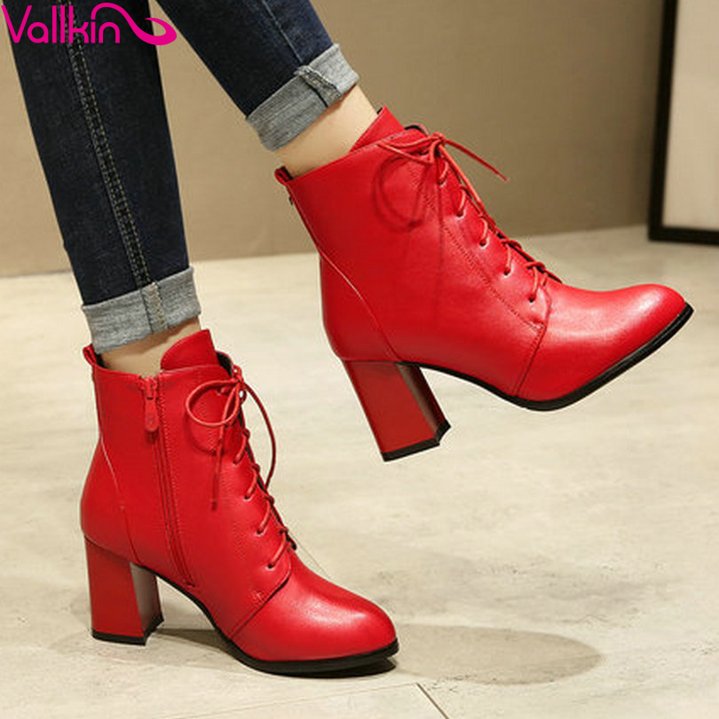 ФОТО VALLKIN 2016 Western Style Lace Up  Square High Heel Motorcycle Boots PU Autumn Women Shoes Women Fashion Ankle Boots Size 34-43
