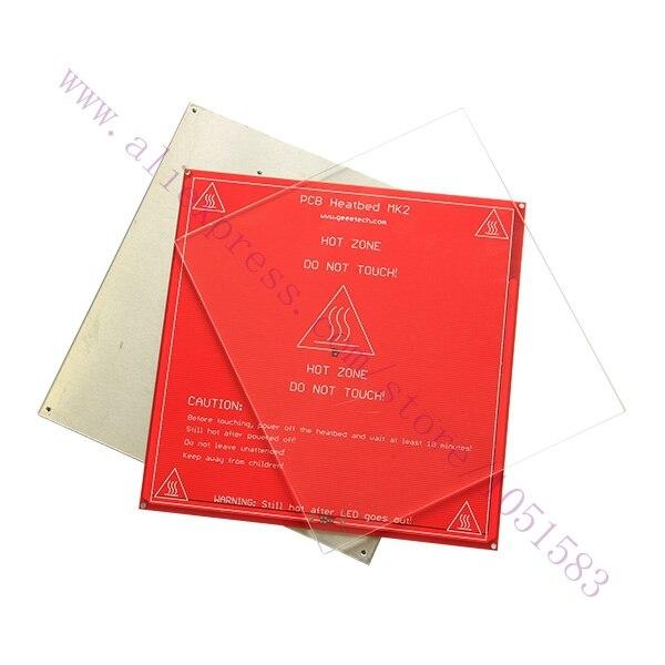 ФОТО 3pcs / set Hot Bed Heating Aluminum plate+glass plate+ PCB Heat Bed for heatbed MK2/2A/2B of 3D printer,Reprap, Mendel