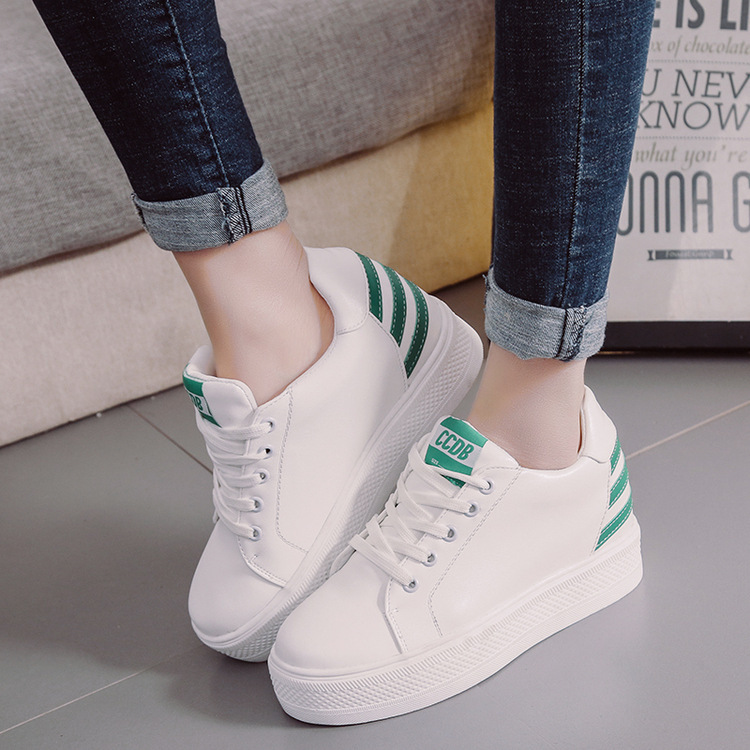 2018 New Women Small White Shoes Lace Up Muffin Bottom Thick Bottom Shoes Students Increased Leisure Shoes Ladies Causal Shoe