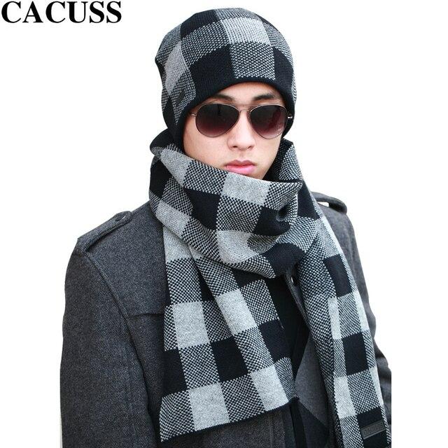 Aseucc marque chapeaux d hiver écharpe ensemble hommes garder au chaud  chapeaux foulards ensemble doux 03b7021526c