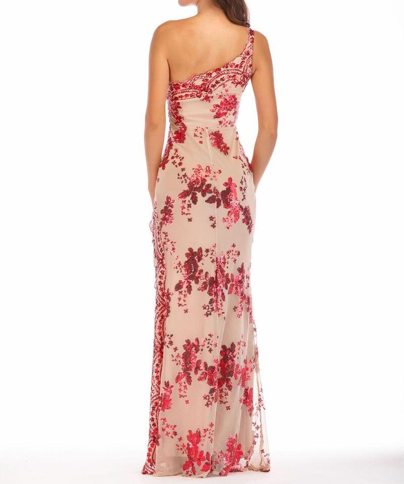 Une Beige Paillette Longue Robe rouge Feminino Femmes Latérale Sexy Vestidos Paillettes Épaule noir Soirée Fente De Maxi B07dr805 q0XHw1nZ
