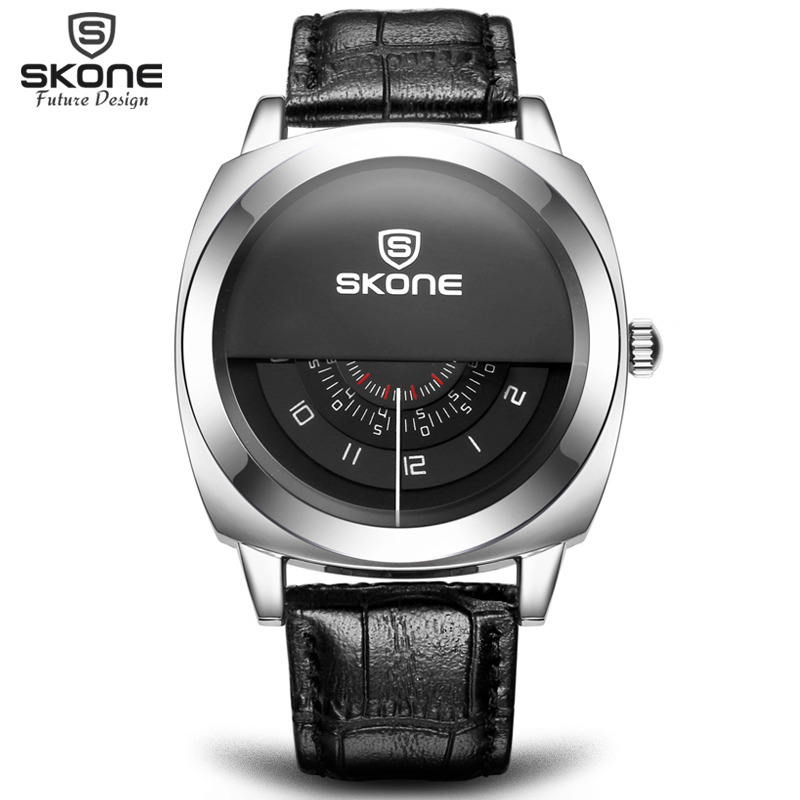 2016 Hot!Casual SKONE Genuine Men & Women Brand Wristwatches Special design Military Leather Sports Watch Relogio Masculino