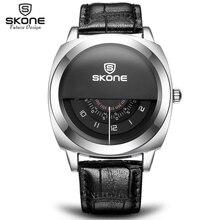 2016 Caliente! Casual SKONE Auténticos Hombres y Mujeres de la Marca de Pulsera de diseño Especial de Cuero Militar Reloj Deportivo Relogio masculino