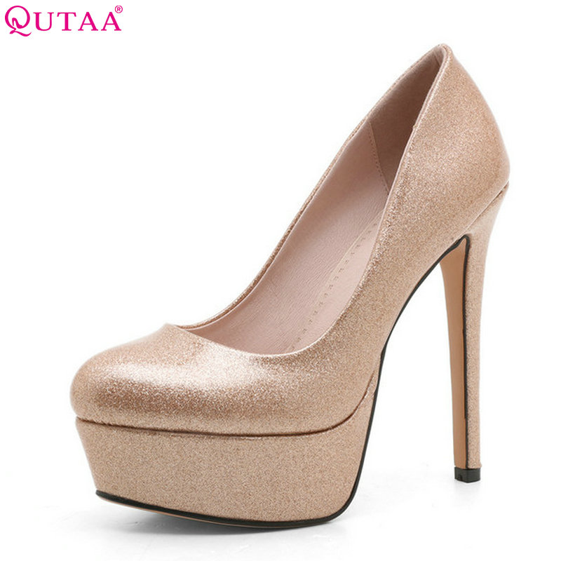 QUTAA 2018 Women Pumps Platform Fashion Patent Leather Slip on Thin High Heel Pointed Toe Bling Wedding Women Shoes Size 34-39 big size high spike heel platform women pumps peep open toe leopard patent leather party wedding slip on sexy lady thin stiletto