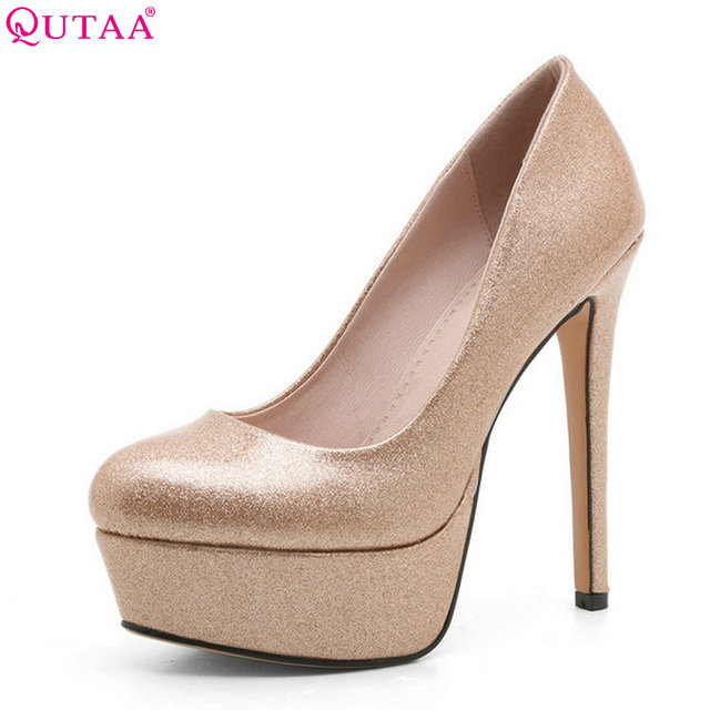 a18f1291654 QUTAA 2018 Women Pumps Platform Fashion Patent Leather Slip on Thin High  Heel Pointed Toe Bling Wedding Women Shoes Size 34-39