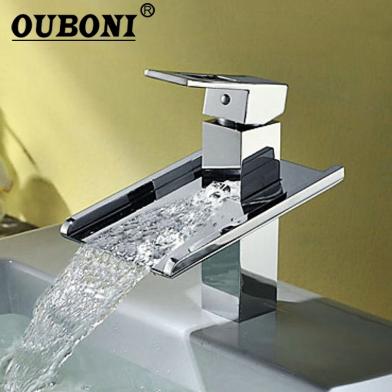 OUBONI Waterfall Spout Polished Chrome Finished Bathroom Basin Sink Mixer Tap Deck Mounted Single Handle Faucet contemporary waterfall spout basin faucet single handle bathroom vessel mixer tap chrome finished