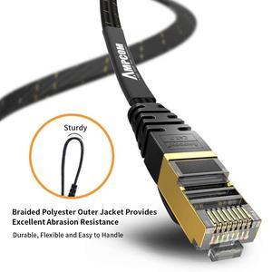 Image 3 - Câble Ethernet AMPCOM RJ45 Cat7 câble Lan STP RJ 45 câble réseau plat cordon de raccordement pour Modem, routeur, TV, tableau de connexions, PC, ordinateur portable