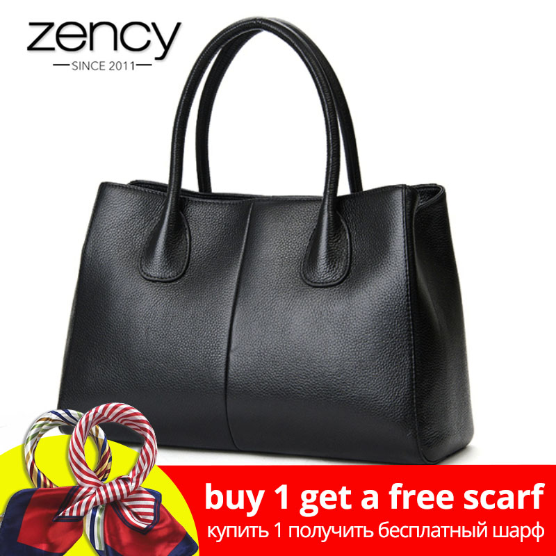 Zency 100% Kulit Asli Fesyen Wanita Handbag Black High Quality Female Casual Tote Bag Office Ladies Purse Perniagaan Putih