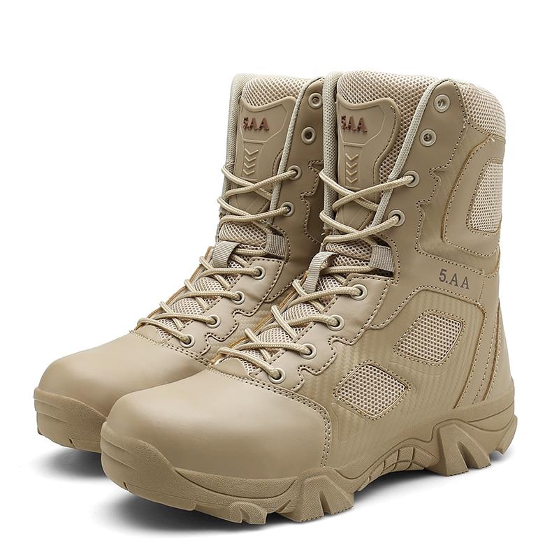 High Top Men Desert Tactical Military Boots Mens Working Safty Shoes Army Combat Boots Militares Tacticos Zapatos Autumn Botas